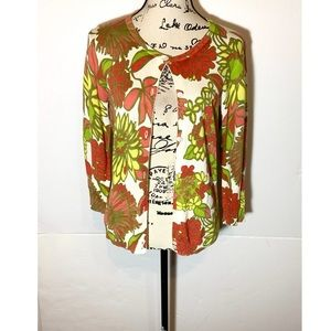 Trina Turk Button Floral Cardigan